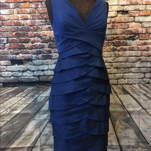 Blue Adrianna Papell layered sleeveless dress